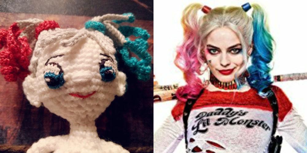 Harley Quinn Haare Häkeln Lockig Mit Blauen Und Roten Spitzen